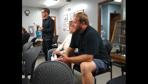 Photo provided by Angie Birdsall - Representatives of medical and adult-use marijuana businesses in Constantine attended an Oct. 18 Constantine Village Council meeting with questions on a presentation to the council on Sept. 7 by Scott Dianda and Ed Santangelo of Tranquility Fields, Inc. on opening a consumption lounge in the village. Shown are (left to right) David Helman, manager of the Constantine Wellness Center, Steve Monte of Atlas Cannabis, and Chad Biberstine of Pure Provisioning.