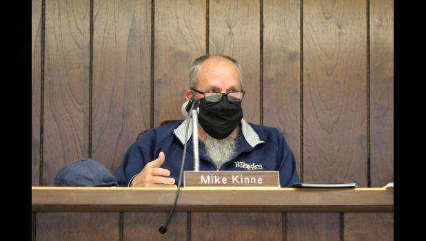 COMMERCIAL-NEWS | ROBERT TOMLINSON - Park Township Trustee Mike Kinne discusses the Three Rivers Public Library's latest library services contract offer during a special meeting of the township board Wednesday. The board rejected the offer, and later ended negotiations with the library, with the potential to revisit the contract in 2022.