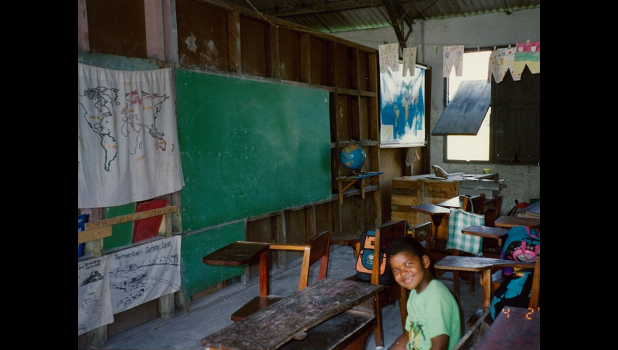 Photo provided by Larry and Jane Campbell - The inside of the Libertad RC School before the renovations funded by Rotary.