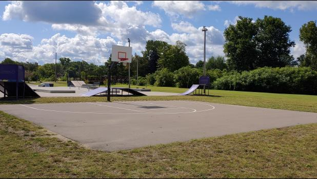 COMMERCIAL-NEWS | ROBERT TOMLINSON - A view of the basketball court at Memory Isle Park Thursday. The Three Rivers City Commission voted Tuesday to expand the court, adding a 42-foot by 50-foot section and a second hoop to make it a full court. The project will cost $17,000 and be added to an existing project in the area.