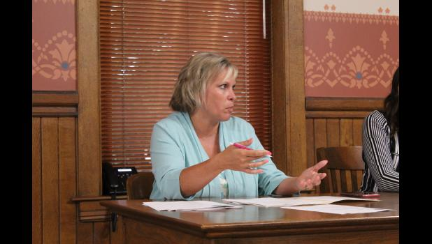 COMMERCIAL-NEWS | ROBERT TOMLINSON - St. Joseph County Administrator Teresa Doehring discusses the potential of rescinding the county's hiring freeze during Tuesday's St. Joseph County Board of Commissioners meeting.