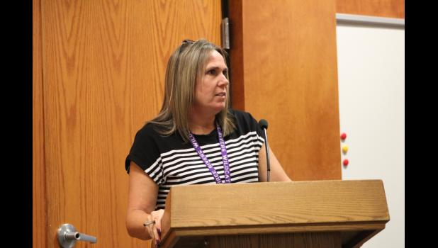 COMMERCIAL-NEWS | ROBERT TOMLINSON - Three Rivers Community Schools Curriculum Director Nikki Nash addresses the board after being named interim superintendent following the resignation of Superintendent Ron Moag during Monday's special meeting of the board. Nash will be the interim superintendent for the rest of the 2021-22 school year.