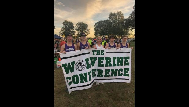 Photo provided - Five Three Rivers cross country runners earned All-Wolverine Conference honors after finishing in the top 20 in Tuesday's league meet held at Indian Lake Nazarene Camp in Vicksburg. Pictured from left to right are Seth Luegge, Kyler Copenhaver, Anezka Pradna, Javier Kelley-Martinez and Zach Gowan.